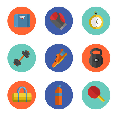 weigher: Vector illustration of gym sports equipment icons set. Boxing gloves, weight, bag, sports shoes, tennis racket, bottle, dumbbell, stopwatch and weigher on color background. Different tools for sport. Illustration