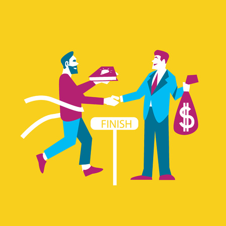 realization: Businessman exchanging his ideas to money, isolated vector illustration. From idea to realization and success concept on yellow background. Investing in innovation, modern technology. Teamwork design