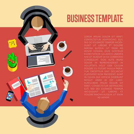 other space: Business template with space for text, vector illustration. Top view business workplace with people, paperwork, laptop, smartphone, coffee cup and other objects on table. Business team work process.