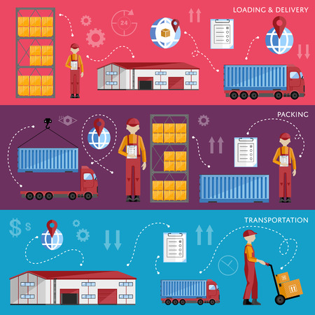 Warehouse management concept flat design vector illustration. Shipment and delivery banners set. Warehouse process infographics. Porter on a truck to ship the goods.