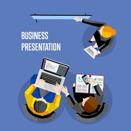 board meeting: Top view business presentation banner, vector illustration. Businesswoman making presentation near whiteboard on blue background. Business seminar or training. Board meeting in office.