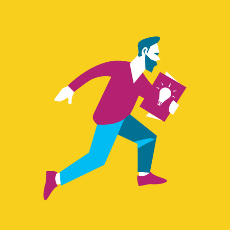 realization: Young businessman running with startup project in hand, isolated vector illustration on yellow background. From idea to realization and success. Start up modern business concept