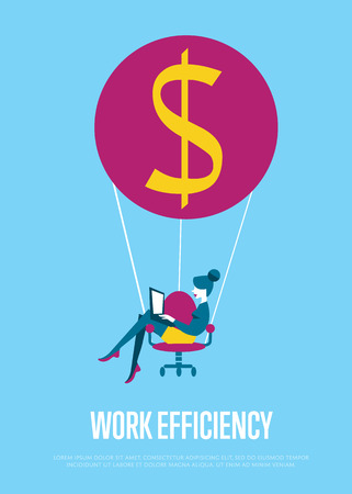 balloon woman: Young efficient business woman with laptop flying on hot air balloon with office chair instead of basket. Work efficiency banner, vector illustration. Abstract work smarter concept. Isolated character Illustration