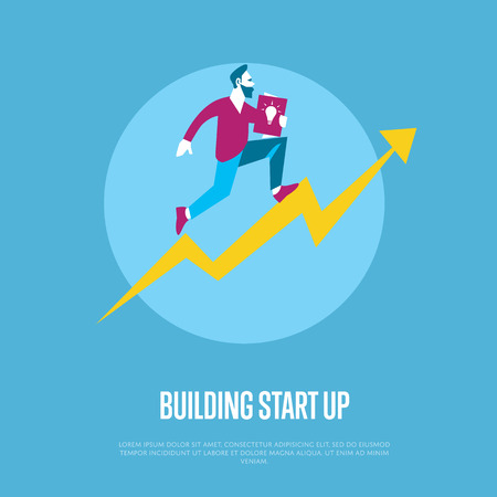 realization: Building start up banner with businessman running with startup project in hand on arrow graph, isolated vector illustration on blue background. From idea to realization and success concept. Illustration