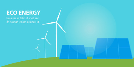 renewable resources: Eco energy vector illustration. Solar panels and wind turbines under blue sky. Renewable resources. Production of energy from the sun and wind. Ecological types of electricity.