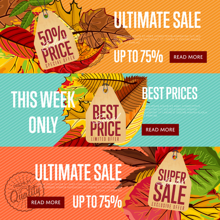 ultimate: Autumn seasonal sale website templates, vector illustration. Ultimate sale this week only. Best price posters on color background with autumn leaves. Autumnal discount horizontal flyers