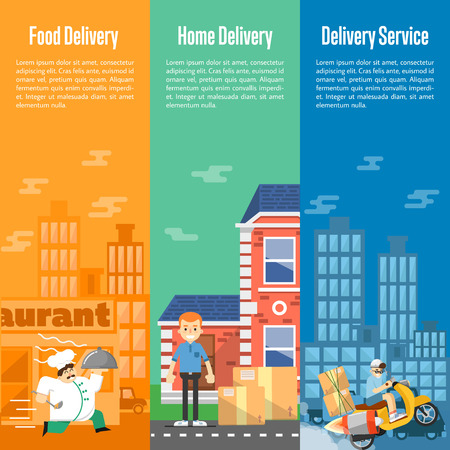 parcels: Delivery boy on scooter with cardboard boxes, postman with parcels near house, chef in uniform running with restaurant cloche. Food and home delivery service vertical banners, vector illustration Illustration