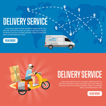 Boy riding scooter with cardboard boxes on red background. Delivery truck on blue background with world map. Delivery service website templates, vector illustration. Worldwide shipping and moving.