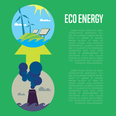 Vector illustration of evolution from industrial pollution to clean energy. Greening of the world banner. Development green energy. From heavy industry to save technology. Development green technology 向量圖像