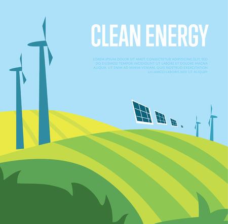 Clean vecteur d'énergie illustration. Les éoliennes dans le champ vert sur fond de ciel bleu ondulé. affiche Windfarm. types écologiques de l'électricité. génération Eco. concept de ressources renouvelables. Banque d'images - 63050436