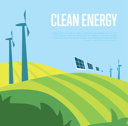 Clean energy vector illustration. Wind turbines in green field on background of blue wavy sky. Windfarm poster. Ecological types of electricity. Eco generation. Renewable resources concept. Illustration