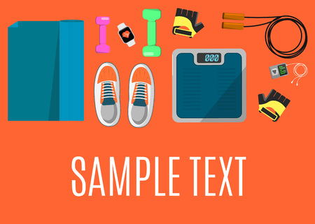 weigher: Vector illustration of gym sports equipment banner. Skipping rope, sports shoes, gloves, tracker bracelet, dumbbells and weigher on orange background. Different tools for sport. Space for your text Illustration