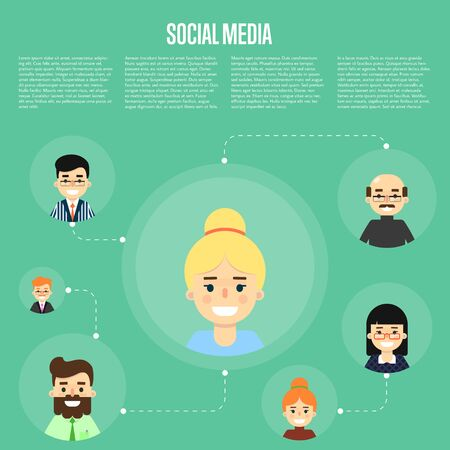 Smiling cartoon woman with own successful social network. Social media banner on green background, vector illustration. Connecting people. Teamwork, collaboration and partnership, working together