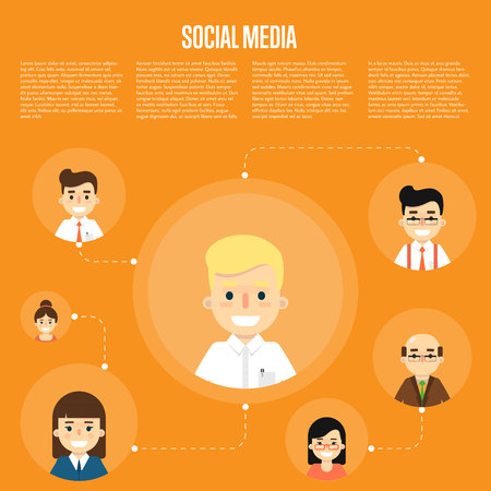 coordination: Smiling cartoon boy with own successful social network. Social media banner on orange background, vector illustration. Connecting people. Teamwork concept. Project coordination. Business team