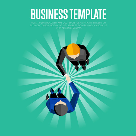 conclusion: Business template, vector illustration. Top view of two businessmen shaking hands on striped green background. Business people meeting concept. Contract conclusion. Union symbol Illustration