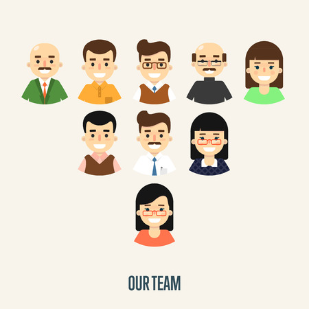 corporate hierarchy: Group of smiling male and female faces avatars on white background. Our team banner, vector illustration. Teamwork and business team concept. Corporate hierarchy. Business success. Illustration