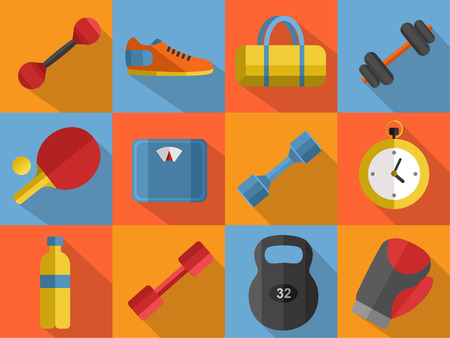 weigher: Vector illustration of gym sports equipment icons set. Boxing gloves, weight, bag, sports shoes, tennis table paddle, dumbbell, stopwatch and weigher on color background. Flat signs with long shadow