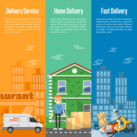 delivery boy: Delivery boy on scooter with cardboard boxes, postman with parcels near house, white delivery truck on cityscape. Food and home delivery service vertical banners, vector illustration Illustration