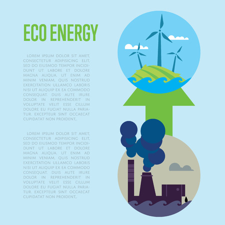 smokestack: Vector illustration of evolution from industrial pollution to clean energy. Greening of the world banner. From heavy industry to save technology. Development green technology. Eco power concept Illustration