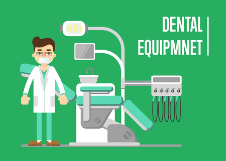 Male dentist standing near modern dental equipment. Dentistry isolated vector illustration. Medical professional equipment. Healthcare and tooth care concept. Medical treatment in stomatology clinic.