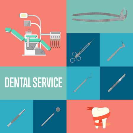 restoration: Dental service square composition with instruments icons and modern dental chair. Healthy clean teeth. Dental treatment and hygiene. Tooth care and restoration. Dentist office banner