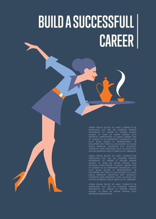 secretary tray: Build successful career banner with young beautiful secretary carrying on tray tea set, isolated vector illustration on blue background. Business woman with coffee set. Office life concept Illustration