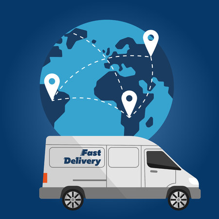 White delivery truck on background of globe with routes. Fast delivery banner, vector illustration. Commercial vehicle. Courier service. Worldwide shipping and moving concept. International postage. Illustration