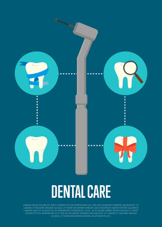 dental treatment: Dental office banner with dentist drill and teeth symbols. Dentistry vector illustration. Dental treatment concept. Tooth care and restoration, stomatology and orthodontics. Dentist office flyer