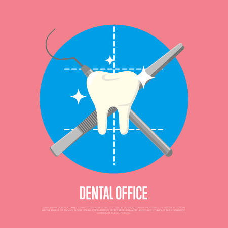 Dental office banner with crosswise instruments on color background. Dentistry isolated vector illustration. Medical professional equipment. Healthcare and tooth care. Dental hygiene Illustration