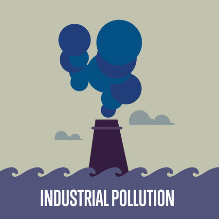 polluting: Industrial pollution banner, vector illustration. From pipe factory smoke, polluting the atmosphere. Industrial landscape. Environmental problems concept. Smoking factory concept.