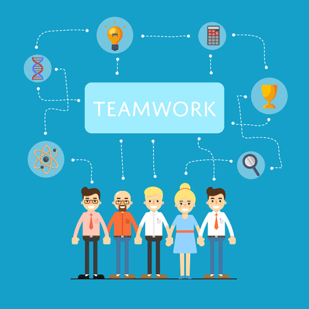 mapa de procesos: Social network and teamwork banner with group of communication people, vector illustration on blue background. Infographic design. Mind map team. Strategic partnership. Problem solving process