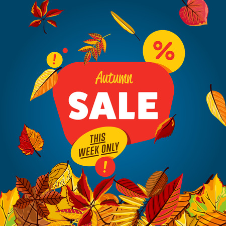 proposition: Autumn sale design template, vector illustration. This week only banner with colorful leaves on blue background. Advertisement about autumnal discount. Business event. Incredible sale proposition Illustration