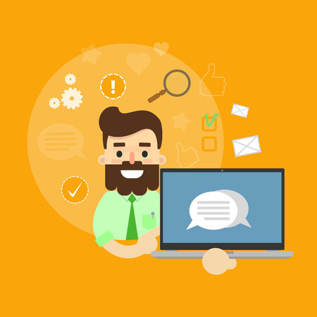 communication cartoon: Smiling cartoon man holding laptop with speech bubbles on screen. Social media banner on yellow background with communication icons, vector illustration. Media sharing, virtual marketing