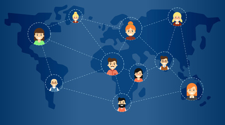 coordination: Social media network banner with connected round people icons on blue background with world map, vector illustration. Connecting people. Teamwork concept. Project coordination. Business team