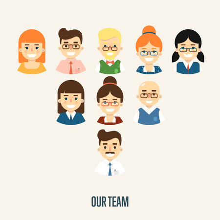 society: Group of smiling male and female faces avatars on white background. Our team banner, vector illustration. Teamwork and business team concept. Project coordination. Corporate hierarchy.