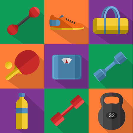 weigher: Vector illustration of gym sports equipment icons set. Weight, bag, sports shoes, tennis table paddle, bottle, dumbbell and weigher on color background. Different sport tools. Flat signs with long shadow Illustration