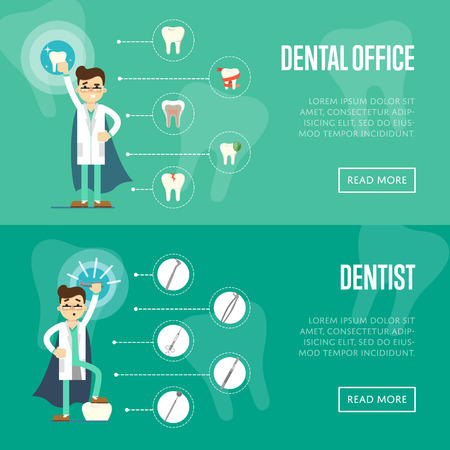 instrument practice: Dental office horizontal website templates with male dentist in medical uniform and superhero cape on green background with instrument and teeth icons, vector illustration. Oral hygiene, tooth health
