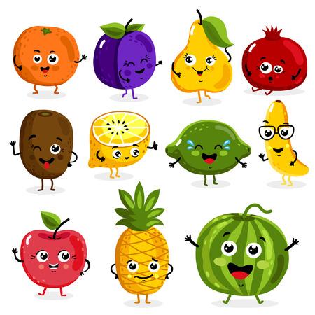 frutas divertidas: Dibujos animados frutas divertidos personajes aislados en fondo blanco ilustración vectorial. Divertido icono de la cara de la fruta.