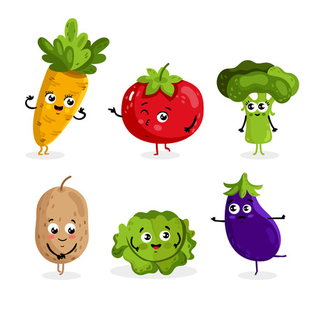Cartoon funny vegetable characters isolated on white background vector illustration. Funny vegetable face icon. Illustration