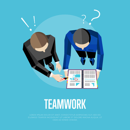 discussing: Teamwork banner, vector illustration. Overhead view of business people with documents discussing details of business project on green background. Project managers meeting. Business team work process Illustration