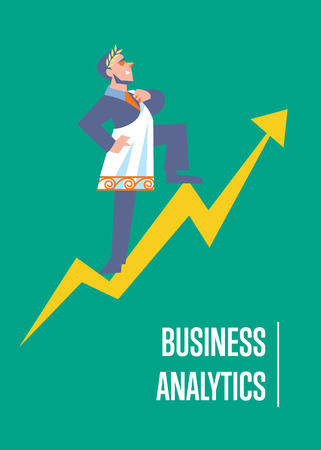 toga: Business analytics banner with businessman in roman toga and laurel wreath standing on arrow graph, isolated vector illustration on green background. Business growth. Big boss concept. Famous person Vectores