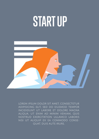 realization: Focused young business people using laptops in office. Business start up banner, vector illustration on gray background. Teamwork concept. Startup realization. Creative team working on new project.
