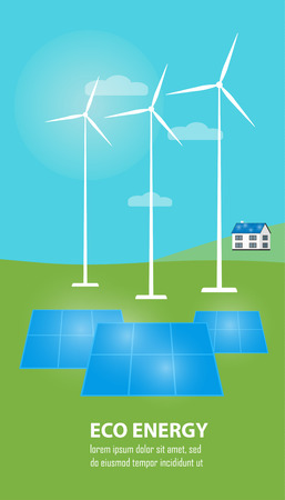 renewable resources: Eco energy vector illustration. Countryside landscape with solar panels and wind turbines. The production of energy from the sun and wind. Modern alternative energy generation. Renewable resources