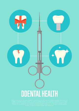 restoration: Dental health banner with medical syringe and teeth symbols. Dentistry vector illustration. Dental treatment concept. Tooth care and restoration, stomatology, orthodontics. Dentist office flyer Illustration