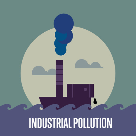 smokestack: Industrial pollution banner, vector illustration. From pipe factory smoke, polluting the atmosphere. Environmental problems. Smoking factory concept. Heavy industry plant. Illustration