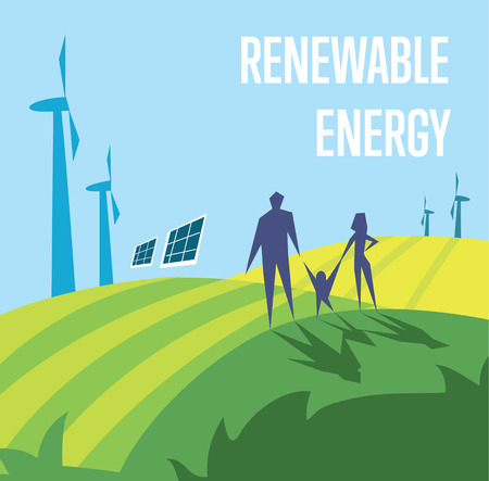 energy background: Renewable energy vector illustration. Family in green field with wind turbines and solar panels on background of blue sky. Production of energy from the sun and wind. Future technologies.
