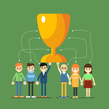 Social network and teamwork banner with connected people focused on winning, vector illustration on green background. Communication mapping. Infographic design. Team work for great result. Win concept