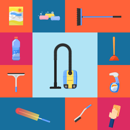 wiping: Cleaning tools icon set flat vector illustration