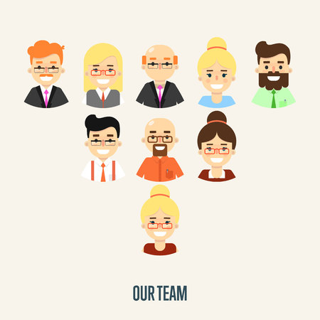 Group of smiling male and female faces avatars on white background. Our team banner, vector illustration. Teamwork and business team concept. Corporate hierarchy. Human resource management Illustration