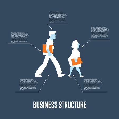 corporate culture: Business people with folders walking. Business structure infographics with space for text, isolated vector illustration on blue background. Teamwork concept. Corporate culture. Business mechanism